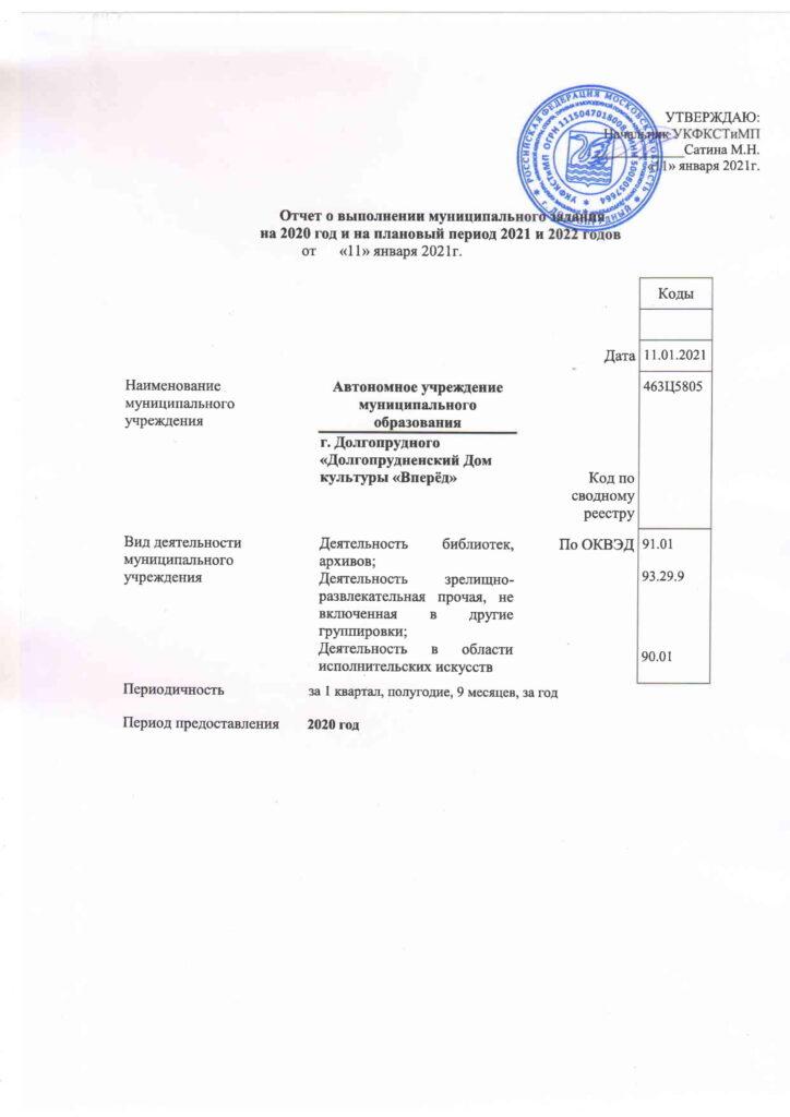 Отчет о выполнении МЗ 2020-1