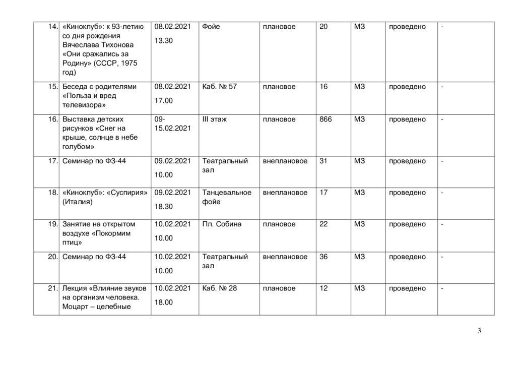 Отчёт о выполнении плана мероприятий в феврале 2021 г.-2